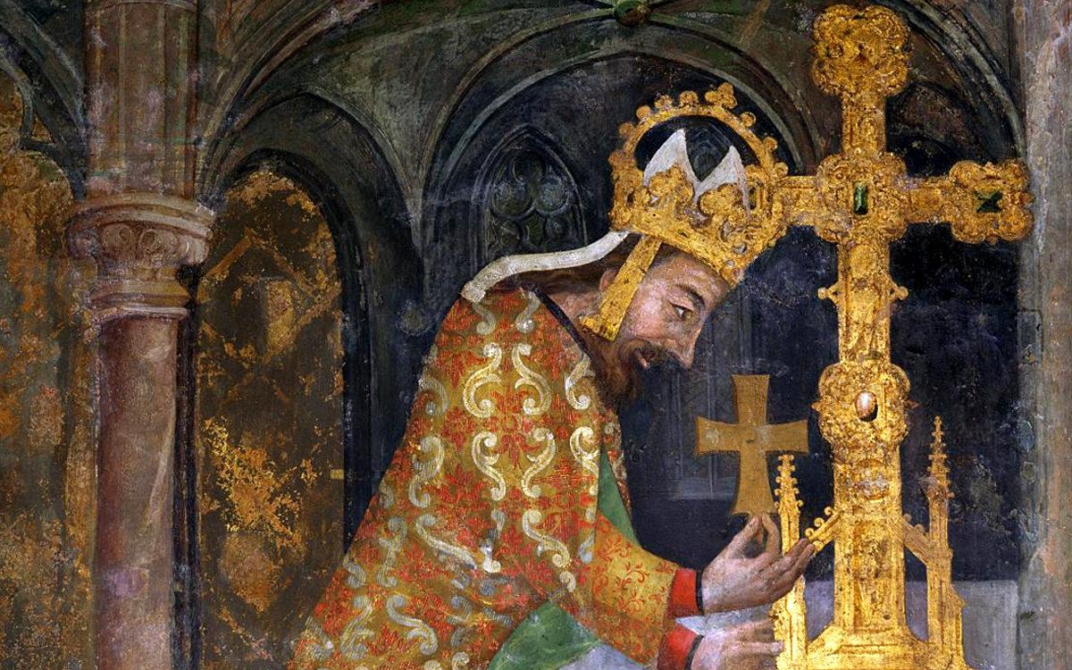 Císař Karel IV. ukládá relikvii dřeva svatého Kříže do velkého ostatkového kříže, kaple svatéhé Kříže, Karlštejn